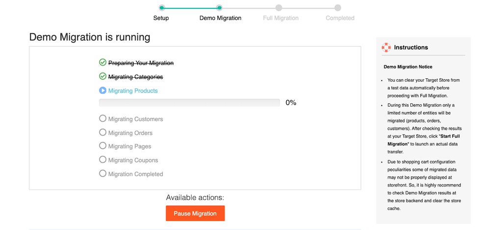 Demo migration to Shopify