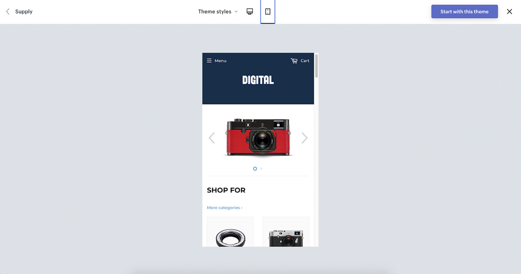 Digital shopify theme demo mobile