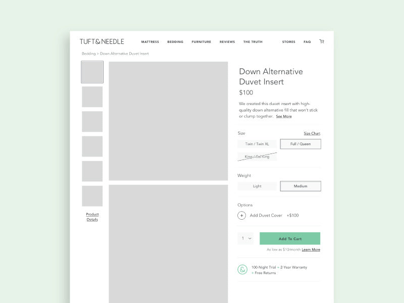 Product Page Design Wireframe