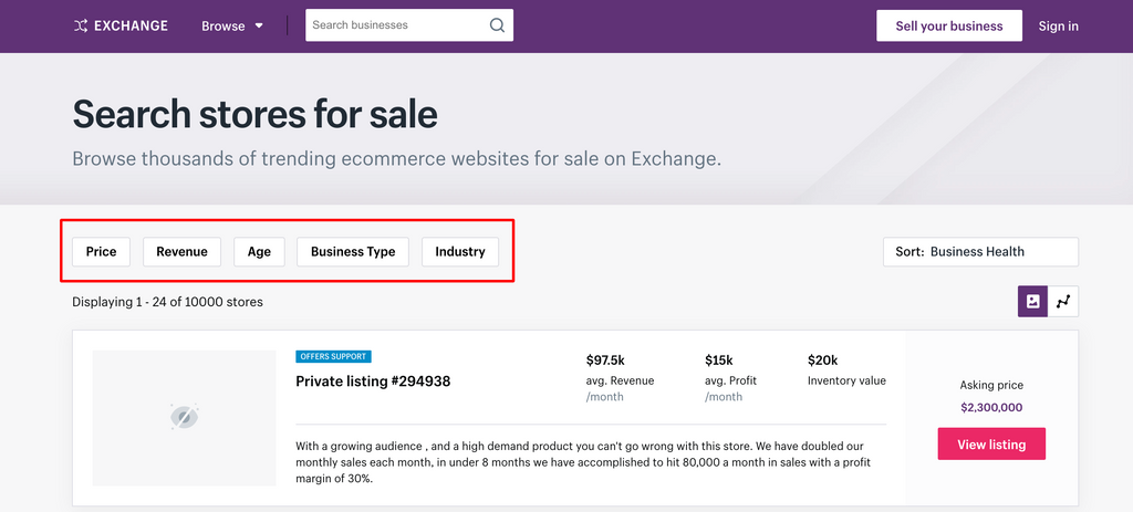 Find the Right Shopify Store at At Exchange Marketplace