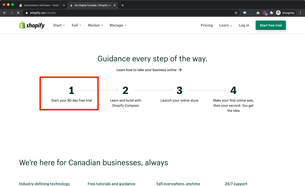 Shopify 90 Days free trial for Canada business