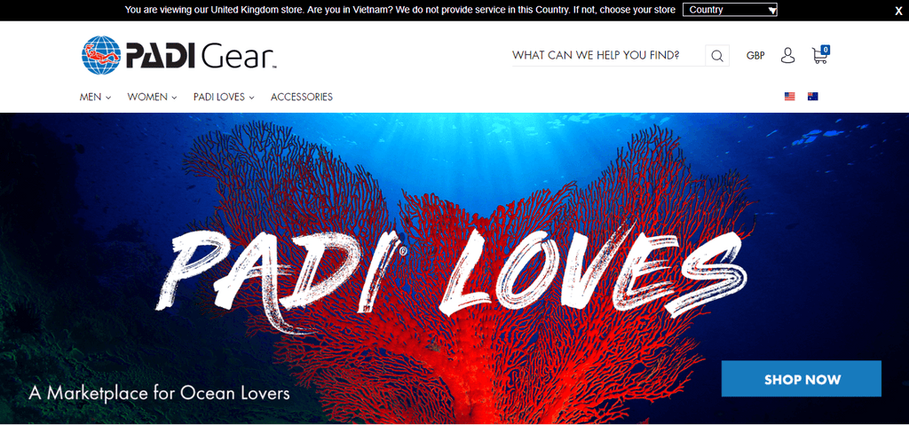 PADI Gear Website