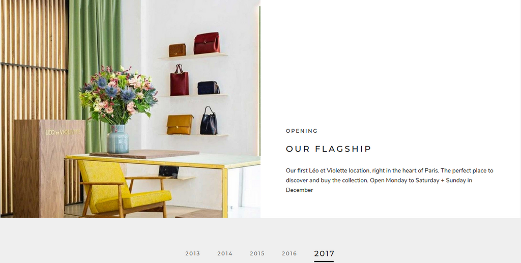 Timeline section of Shopify Prestige Theme, which shows your store's stories.