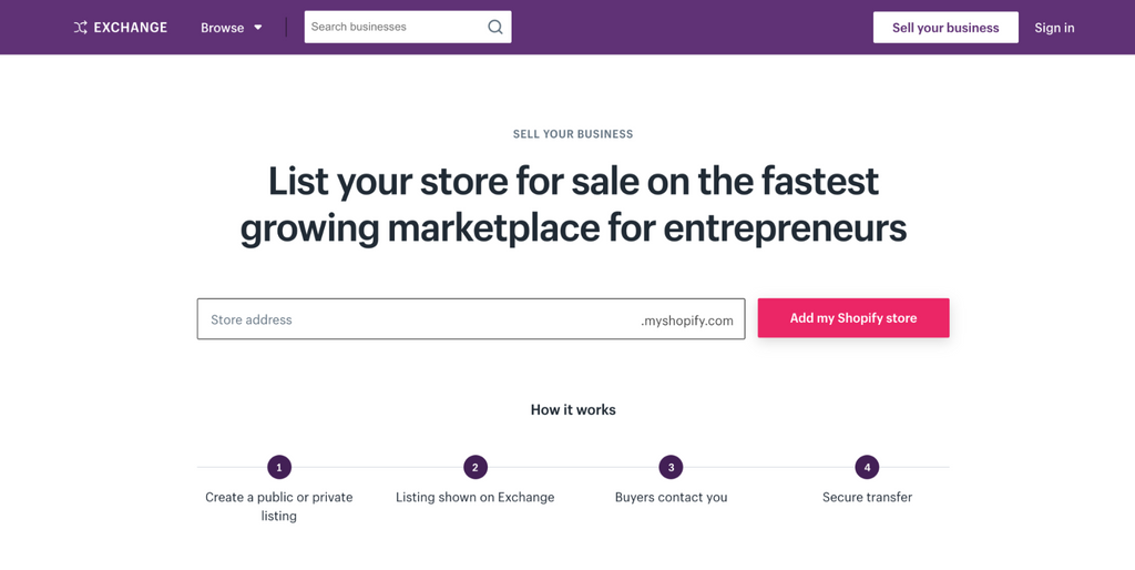 Sell A Shopify Store On Exchange Marketplace