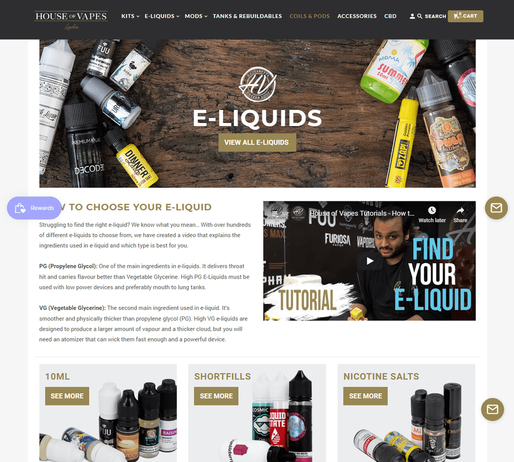 House of Vapes Shopify Website example
