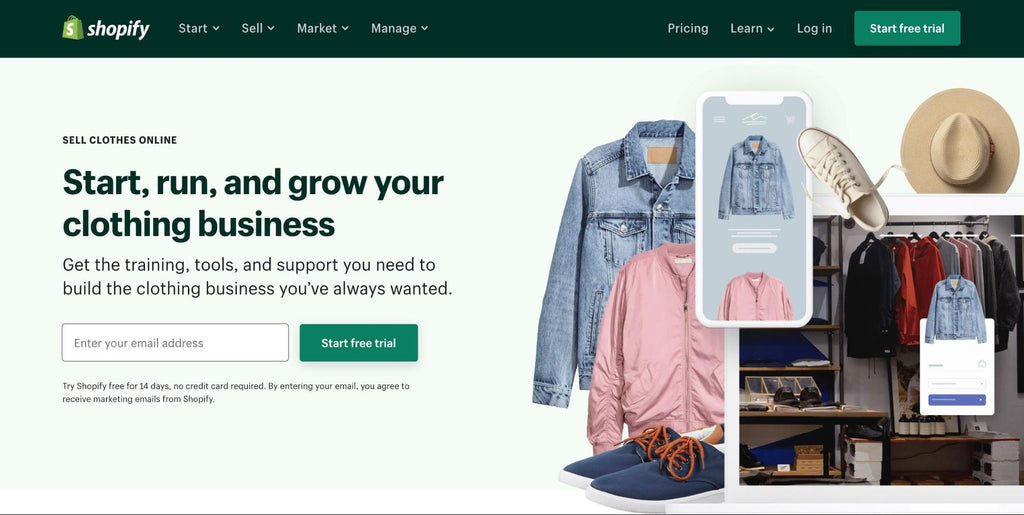 sell clothes on Shopify