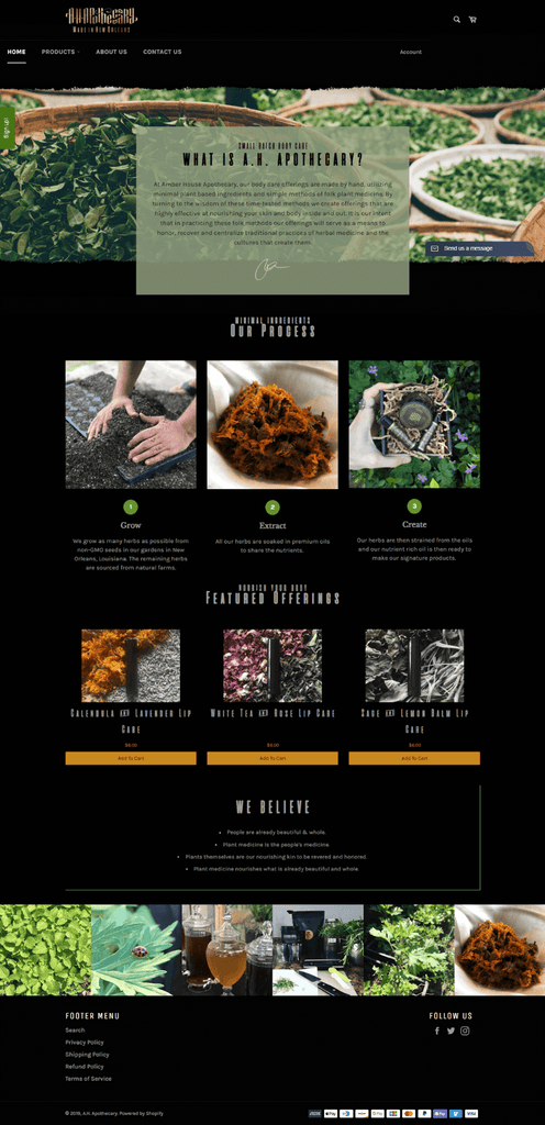 A.H Apothecary homepage