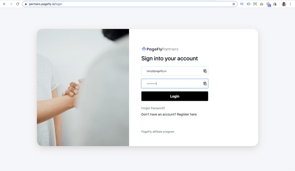 pagefly affiliate login page