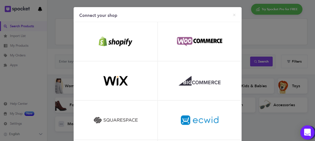 Connect your shop on Spocket