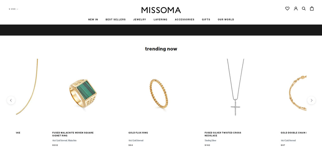 Missoma Shopify Jewelry Store