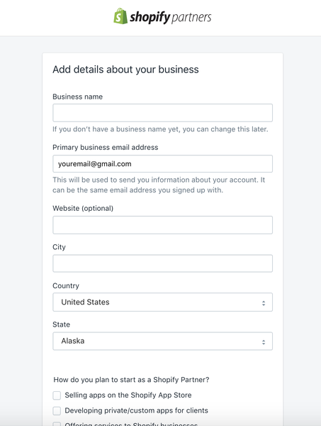 shopify partner form