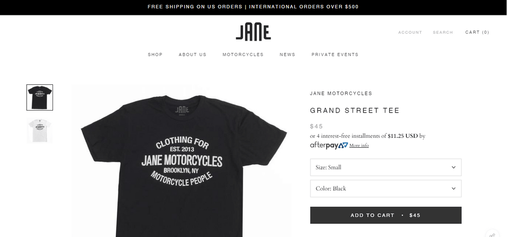 Jane motorcycles products page