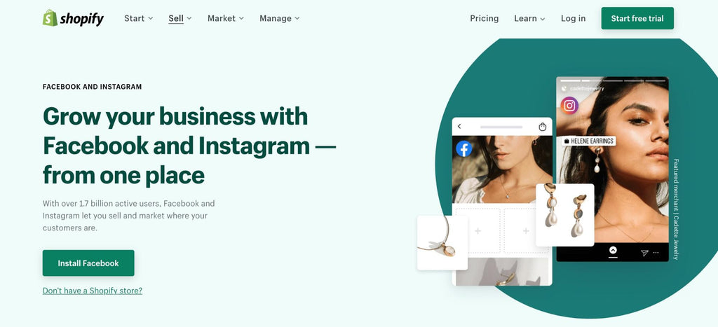 sell on Facebook and Instagram with Shopify