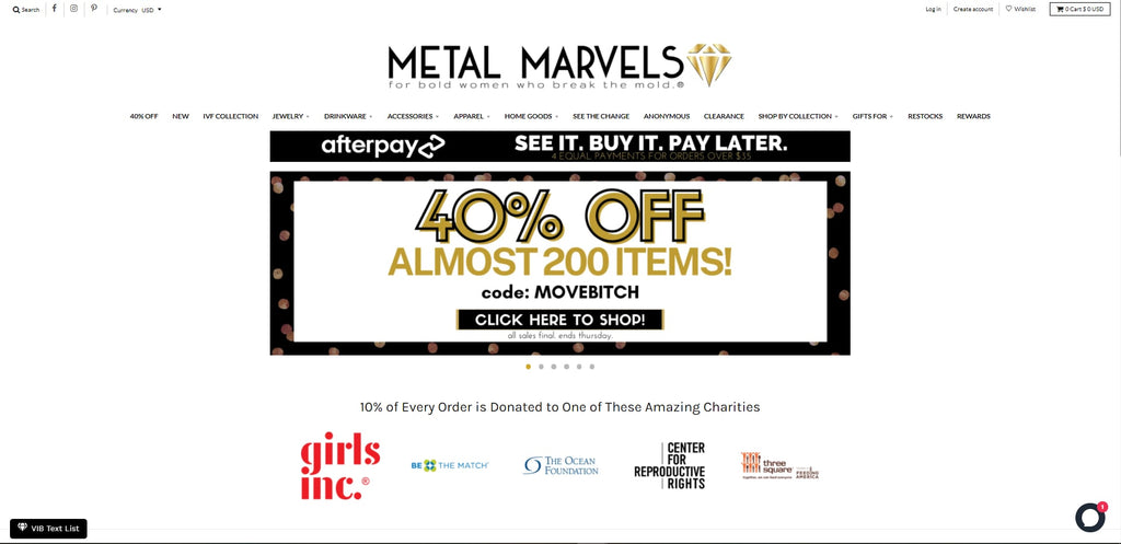 Metal Marvels Shopify Jewelry Store has a bold design