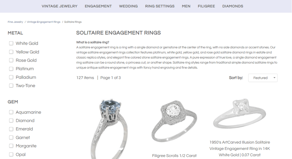 jewelry collection page SEO