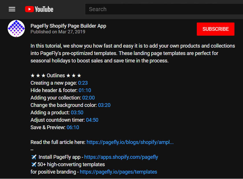 PageFly YouTube description links