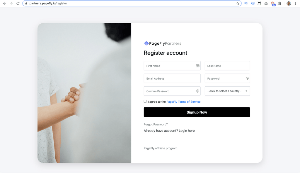 pagefly registration page