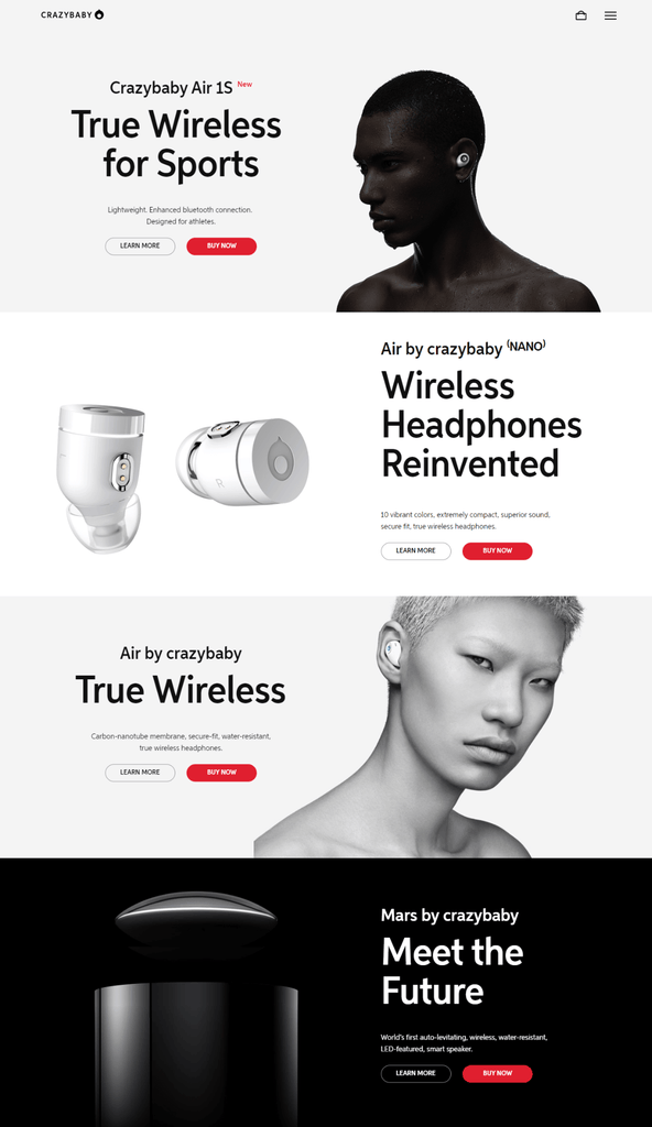 Contrasting colors landing page