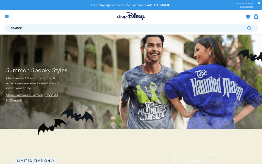 ShopDisney uses sitewide banners to promote discounts and free shipping codes