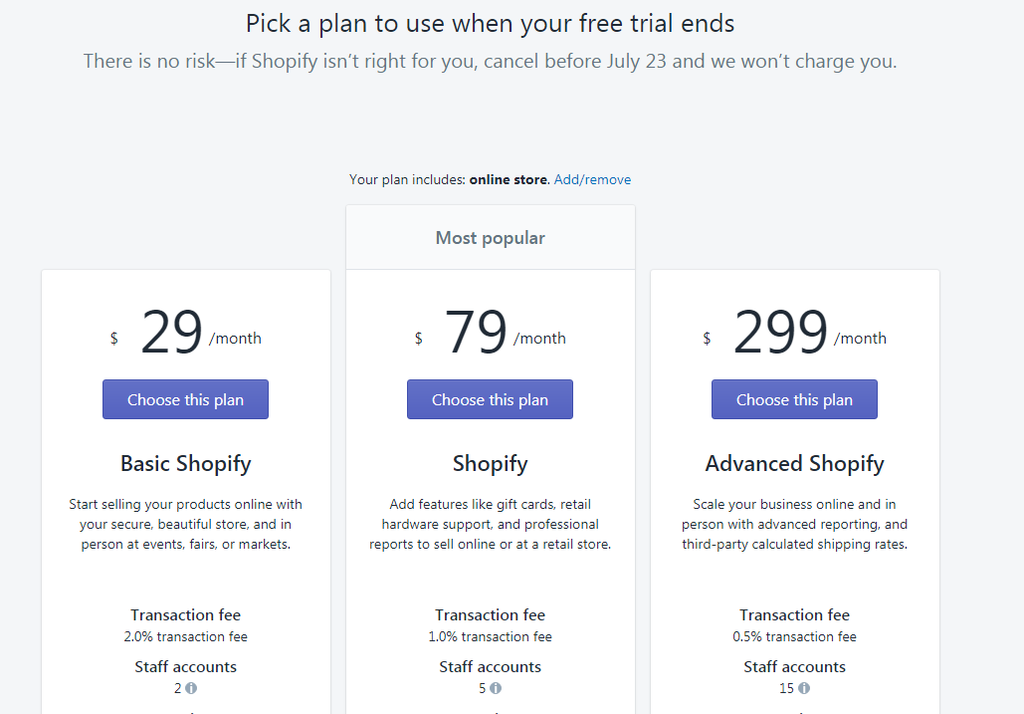Shopify-Pricing-plan