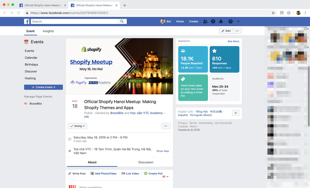 shopify hanoi meetup event page