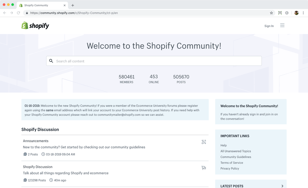 shopify community forum