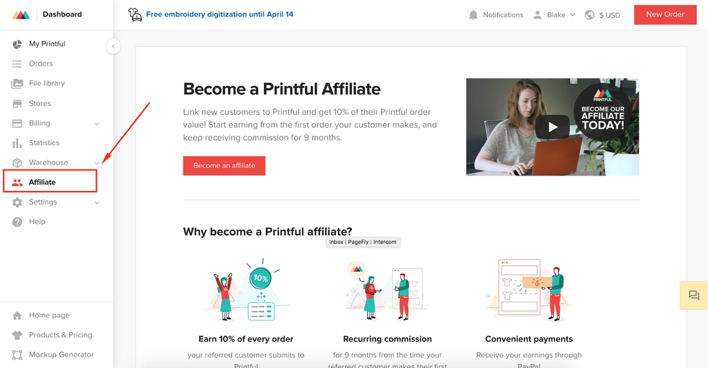 printful affiliate dashboard