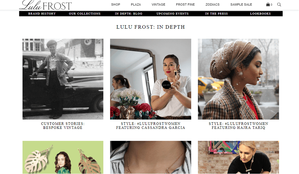 Lulu Frost Shopify Blog Pages