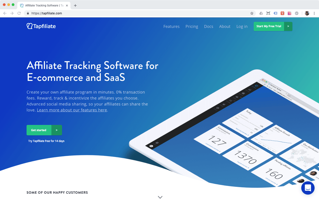 Tapfiliate affiliate tracking software