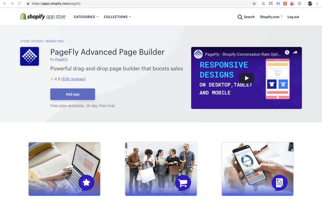 PageFly Shopify page builder app on the Shopify app store
