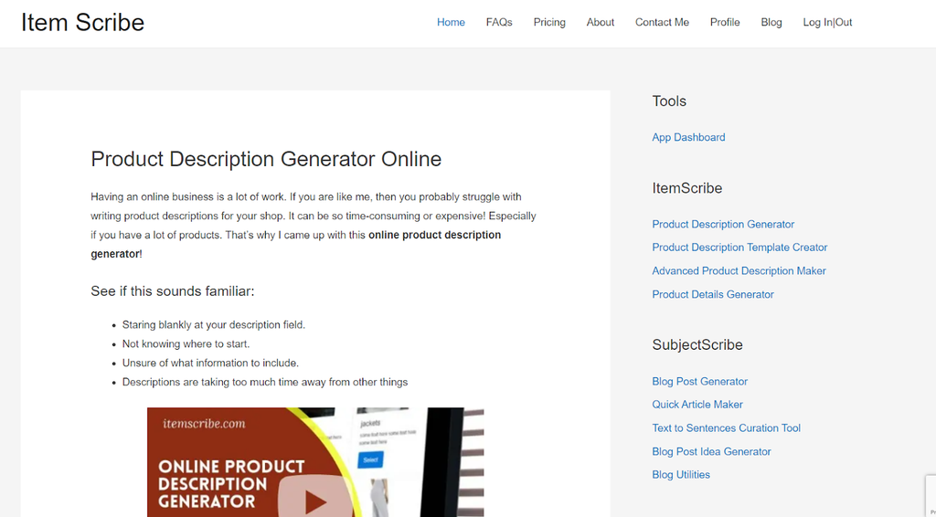 ItemScribe homepage