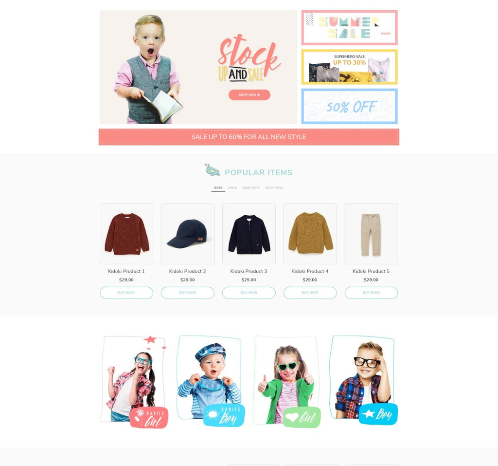Kidoki - Shopify landing pages examples built with PageFly