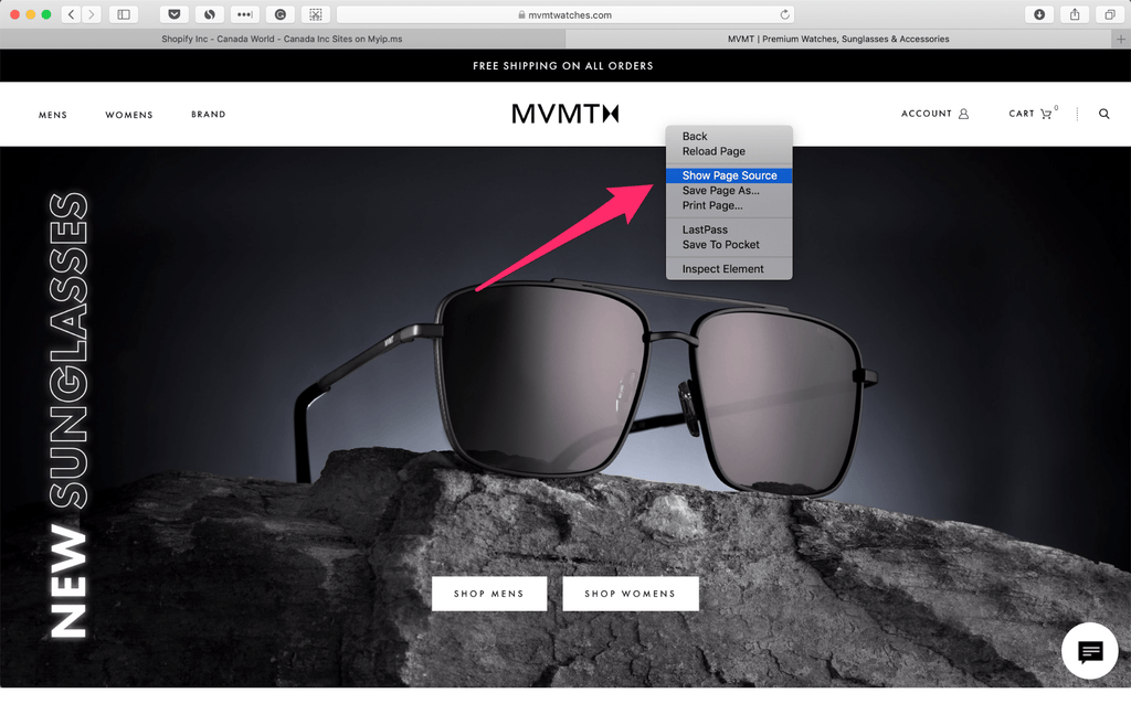 mvmt store - view page source