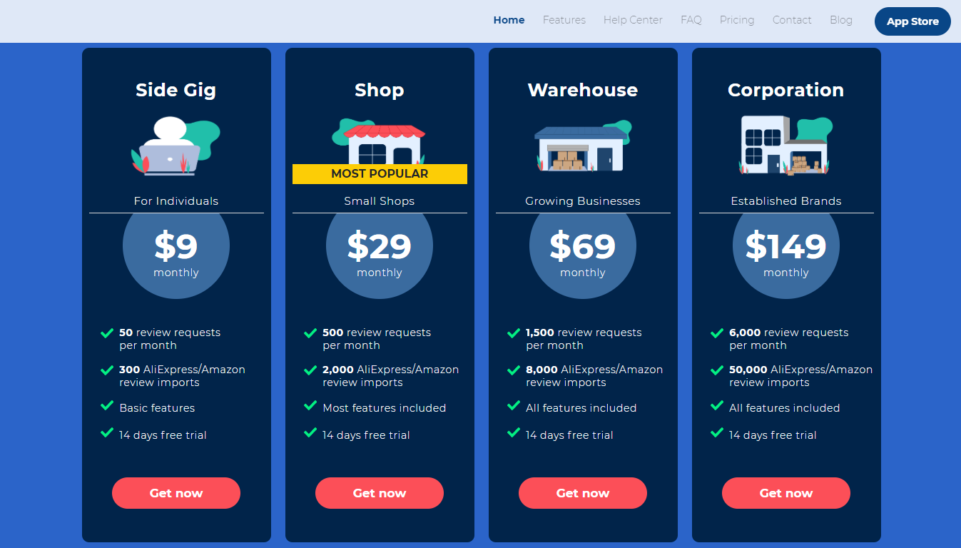 Opinew product pricing