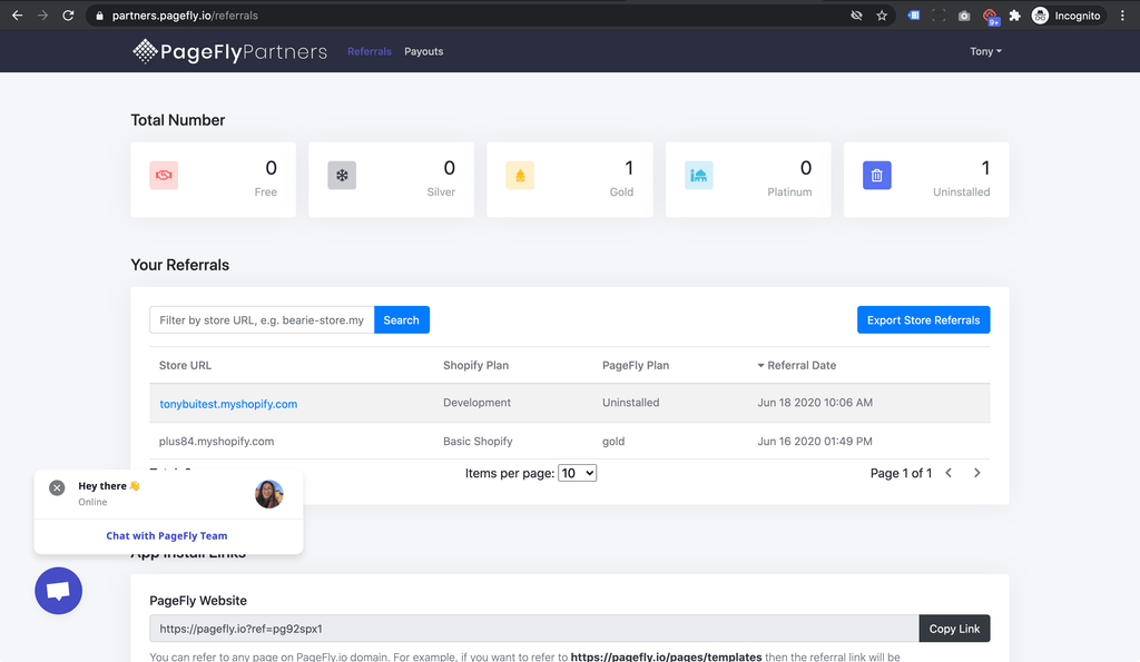 pagefly affiliate program dashboard