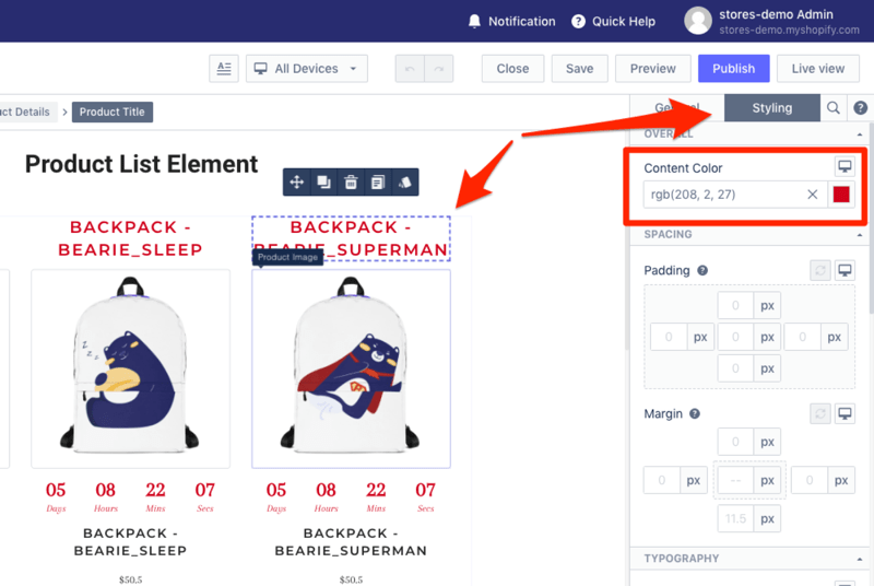 styling shopify product details