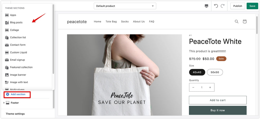 Shopify Dawn Theme  has content sections on all page types