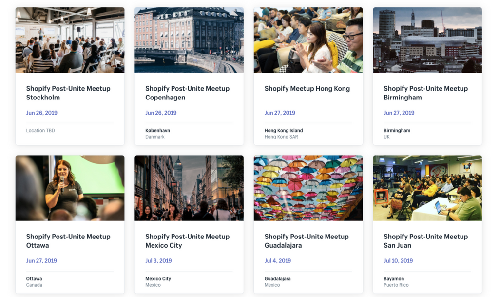 Shopify meetups around the world