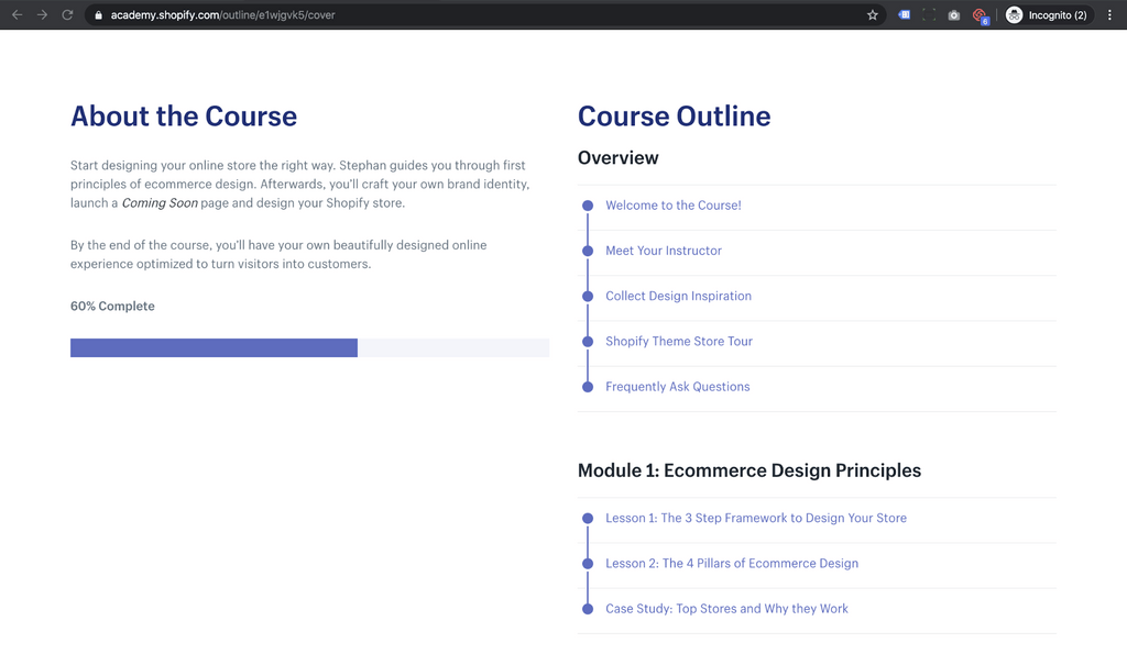 ecommere design course - table of contents