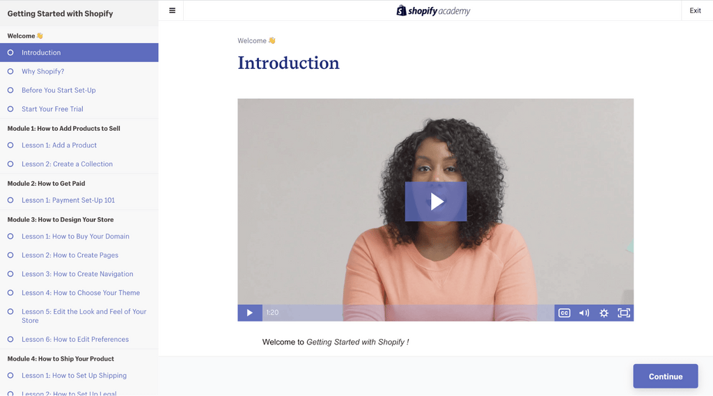 table of contents - getting started with shopify