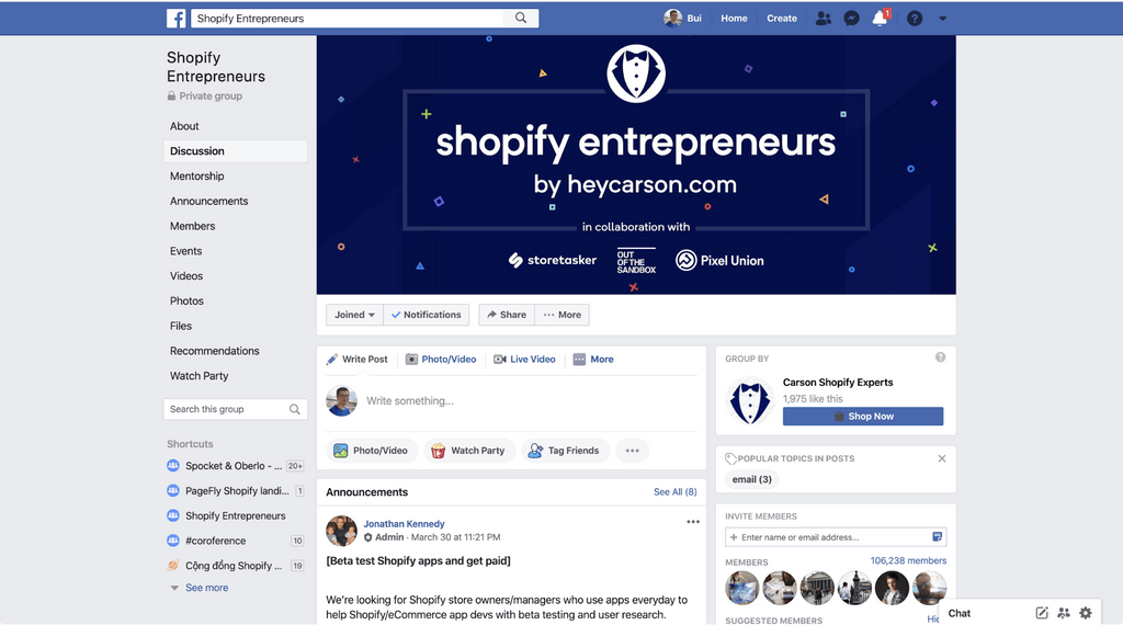 shopify entrepreneurs facebook group
