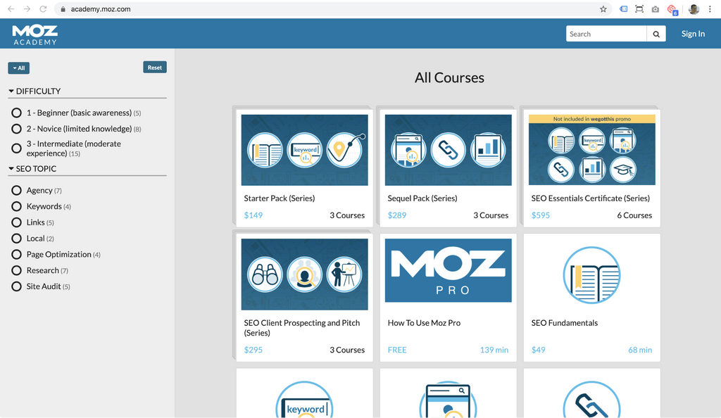 moz academy free course