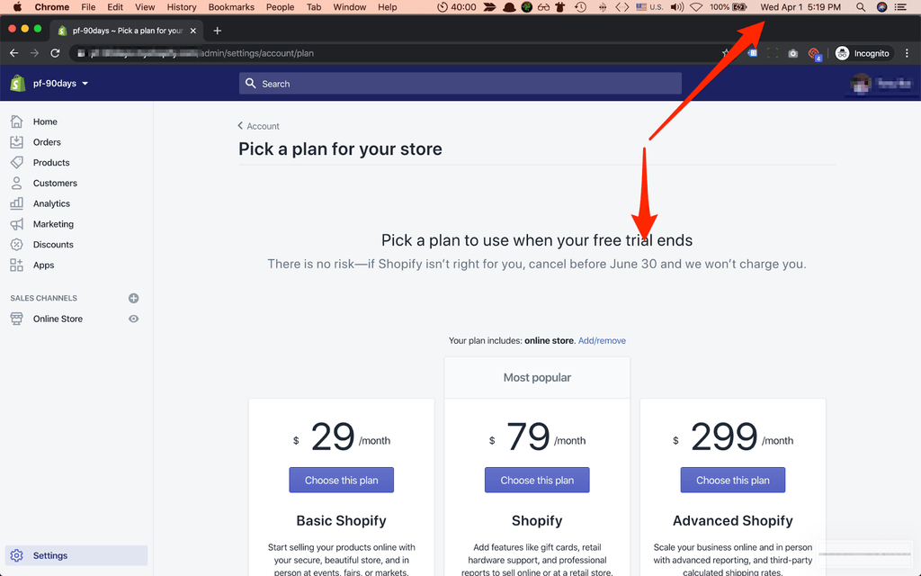 shopify trial 90 days