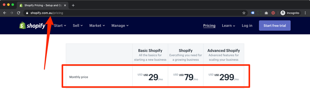 shopify australia pricing