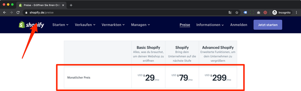 shopify pricing Deutschland