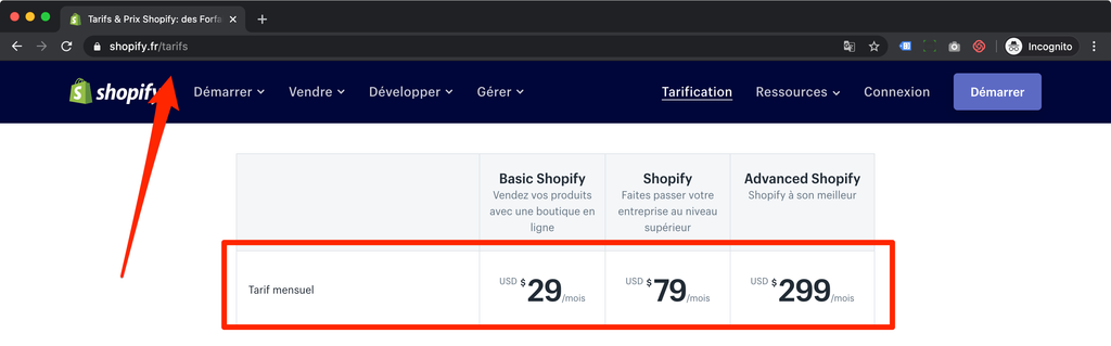 shopify pricing france