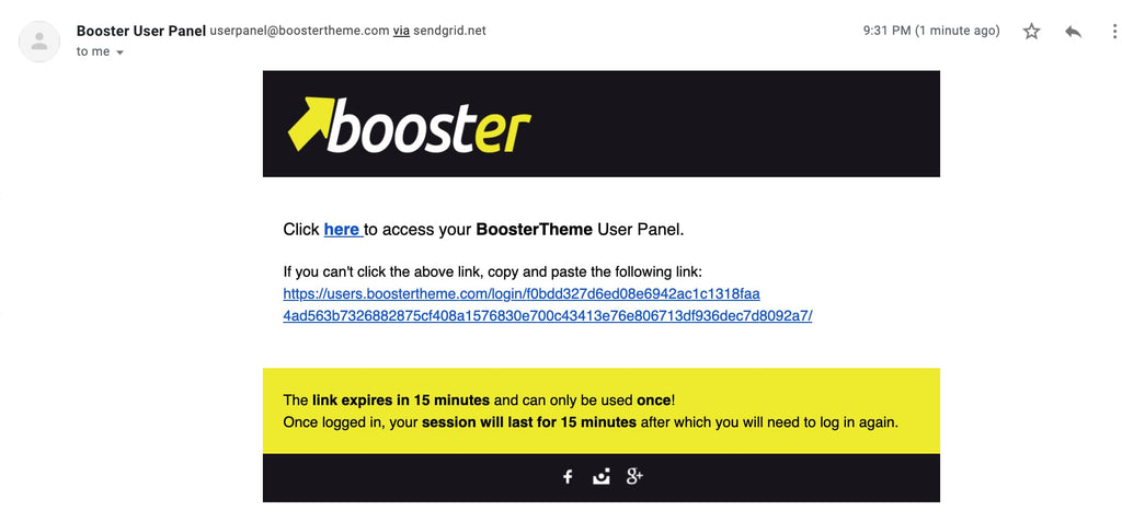 Booster theme log in link