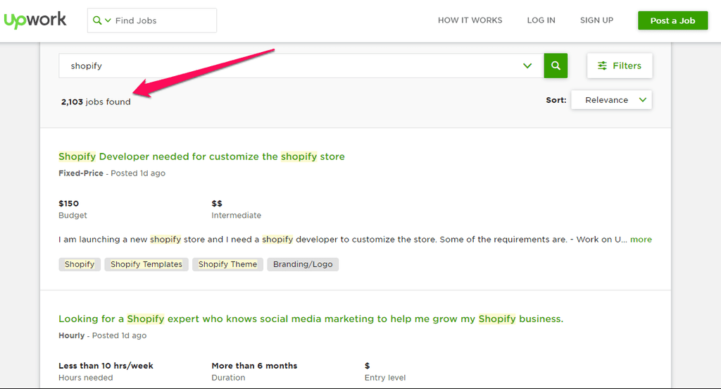 Upwork Shopify jobs