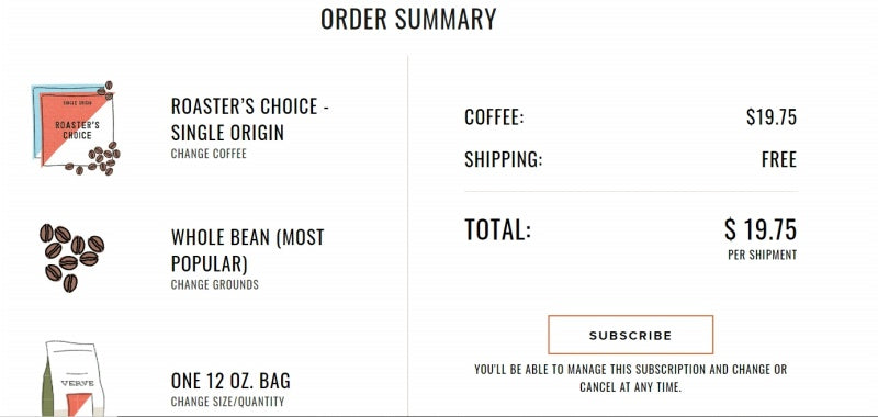 Coffee subscription order review