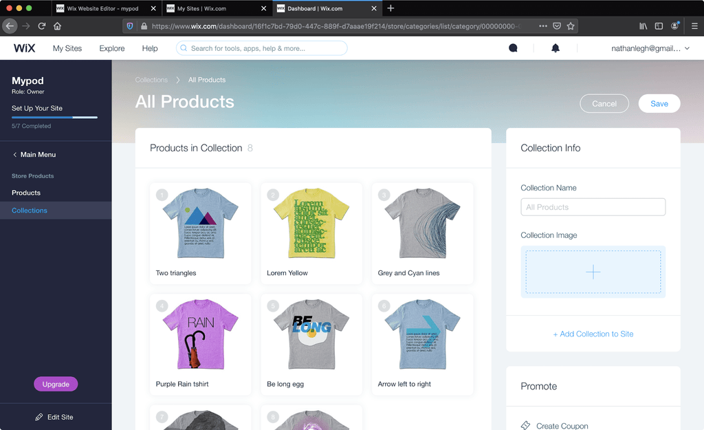 wix product collection editor